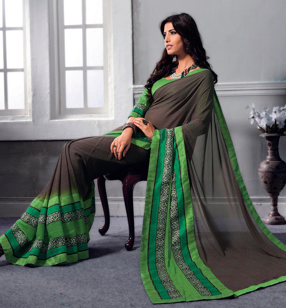buy COFFEE GEORGETTE CASUAL WEAR SAREE VSBM32723 - stylishbazaar - online shopping india, online shopping sites in india, online shopping store, traditional dress of india, women clothing online, buy online india