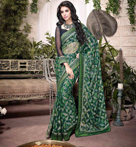 EYE-CATCHING GREEN  ART SILK SEMI CASUAL SAREE VSHS32917 - stylishbazaar -  Floral Sarees, Heavy Sarees, Velvet Sarees, Digital Printed Sarees, Chiffon Saris, Net Saris, Georgette Saris, Silk Saris, Buy Silk Sarees Online