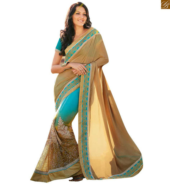 STYLISH BAZAAR DESIGNER SKY BLUE AND BEIGE SAREE WITH A LOVELY BLUE BLOUSE ANOB32