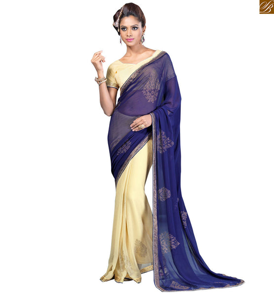 STYLISH BAZAAR PRESENTS APPEALING COMBINATION OF BLUE AND CREAM SAREE WITH CREAM BLOUSE RTVL33