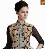 GET GOING BY WEARING THIS BLACK GEORGETTE MATERIAL PARTY WEAR KURTI THAT HAS RICH LEAF STYLE DESIGNING ALL OVER IT