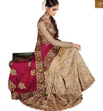 FROM STYLISH BAZAAR BUY BEIGE NET AND MAROON SATIN PARTY WEAR DESIGNER SAREE WITH HEAVY DIAMOND WORK SLMN3301A