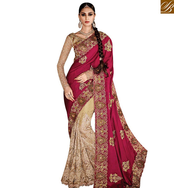 STYLISH BAZAAR BUY BEIGE NET AND MAROON SATIN PARTY WEAR DESIGNER SAREE WITH HEAVY DIAMOND WORK SLMN3301A