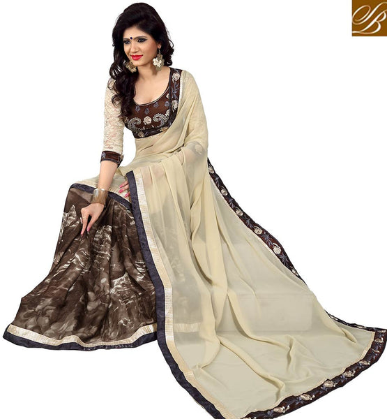GORGEOUS DESIGNER HALF AND HALF SARI VDMNK3302 BY BEIGE  AND BROWN
