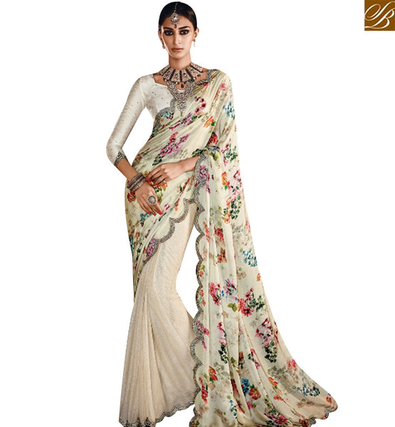 STYLISH BAZAAR MAGNIFICENT CREAM SATIN SILK DESIGNER SAREE HAVING A PLEASANT LOOK OF DIGITAL PRINT SLMN3305