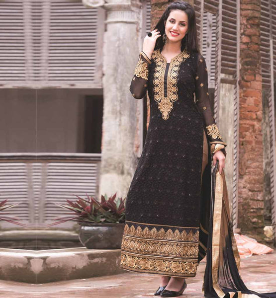 BLACK PARTY WEAR SALWAR SUIT RTAAK3306