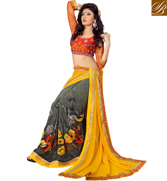 MAGNIFICENT DESIGNER PARTY WEAR SARI DESIGN VDMNK3306 GREY & YELLOW