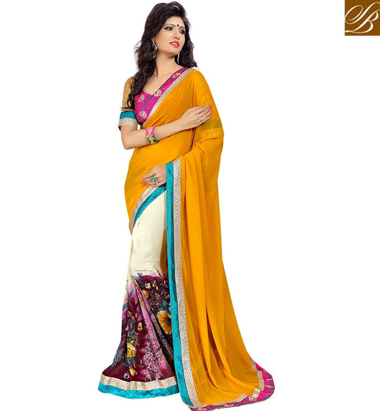 PLEASING DESIGNER GEORGETTE SAREE VDMNK3309 BY Yellow & Cream