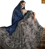 FROM STYLISH BAZAAR DAZZLING GREY NET LYCRA HEAVY EMBROIDERED SAREE HAVING JARI AND DIAMOND WORK SLMN3315
