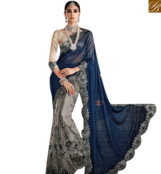 STYLISH BAZAAR DAZZLING GREY NET LYCRA HEAVY EMBROIDERED SAREE HAVING JARI AND DIAMOND WORK SLMN3315