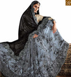 DAZZLING GREY NET LYCRA HEAVY EMBROIDERED SAREE HAVING JARI AND DIAMOND WORK SLMN3315