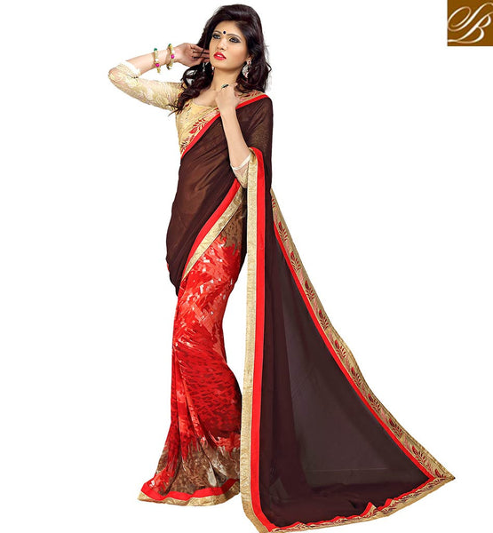 RAVISHING DESIGNER SAREE ESPECIALLY FOR SPECIAL EVENTS VDMNK3315  BY BROWN & RED