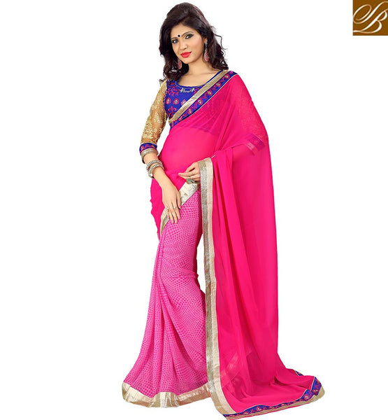 SUBLIME PARTY WEAR SARI DESIGN VDMNK3318 BY PINK COLOR