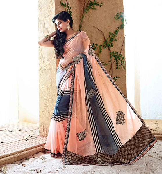 PEACH SAREE FROM BOLLYWOOD MOVIE HOLIDAY RTHS33204 - STYLSIHBAZAAR - HOLIDAY - AKSHAY KUMAR - SONAKSHI SINHA - indian Sarees in UK - Bollywood Sarees in US - Worldwide Delivery