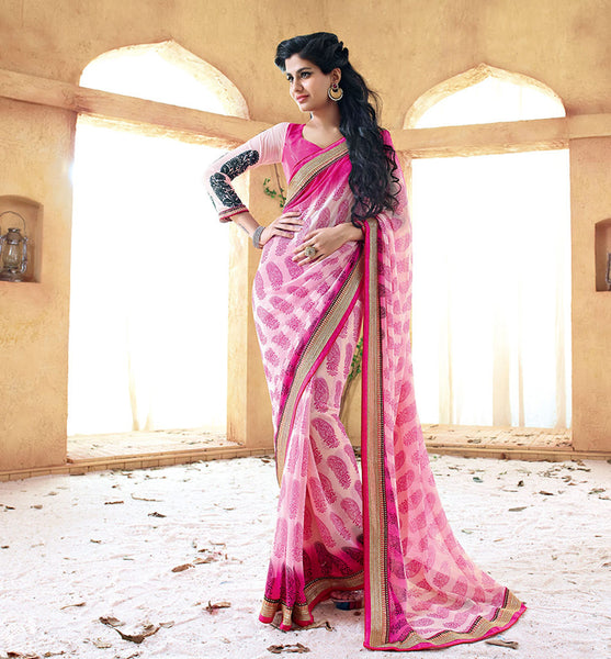 PINK GEORGETTE SAREE FROM BOLLYWOOD MOVIE HOLIDAY RTHS33218- STYLISH BAZAAR - HOLIDAY MOVIE SAREE STARRING AKSHAY KUMAR & SONAKSHI SINHA - Saris, Sarees, Buy Online Sarees, Buy Sarees Online, Partywear Sarees