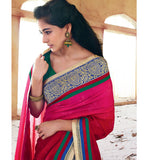 PINK & BLACK SAREE FROM BOLLYWOOD MOVIE HOLIDAY RTHS33221 - - STYLISH BAZAAR - HOLIDAY MOVIE SAREE STARRING AKSHAY KUMAR & SONAKSHI SINHA - buy sarees online, buy online sarees, indian sarees buy online, buy sarees online india, saree buy online, indian saree buy online