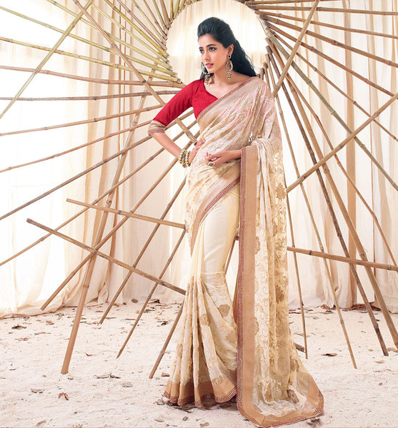 CREAM SAREE FROM BOLLYWOOD MOVIE HOLIDAY RTHS33225 - - STYLISH BAZAAR - HOLIDAY MOVIE SAREE STARRING AKSHAY KUMAR & SONAKSHI SINHA - Designer Movie Collection, Akshay Kumar, Sonakshi Sinha, Saris, Sarees,