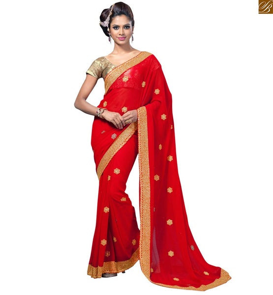 STYLISH BAZAAR CLASSY RED EMBROIDERED SAREE WITH ART SILK CREAM BLOUSE RTVL34