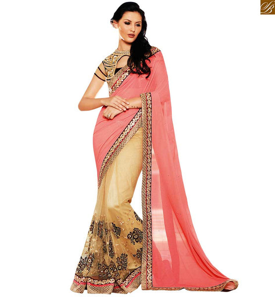 STYLISH BAZAAR PINK AND CREAM DESIGNER GEORGETTE SARI WITH DARK BROWN BLOUSE ANOB34