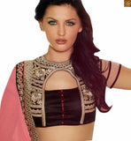 STYLISHBAZAAR PINK AND CREAM DESIGNER GEORGETTE SARI WITH DARK BROWN BLOUSE ANOB34