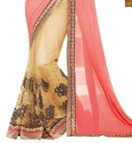 FROM THE HOUSE OF STYLISH BAZAAR PINK AND CREAM DESIGNER GEORGETTE SARI WITH DARK BROWN BLOUSE ANOB34