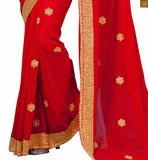 FROM THE HOUSE OF STYLISH BAZAAR CLASSY RED EMBROIDERED SAREE WITH ART SILK CREAM BLOUSE RTVL34