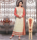 SALWAR KAMEEZ COLOUR COMBINATIONS TO WIN HEARTS  BEIGE GEORGETTE STRAIGHT CUT SUIT WITH RUST SANTOON SALWAR AND CHIFFON DUPATTA