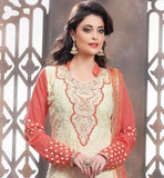 BEIGE GEORGETTE STRAIGHT CUT SUIT WITH RUST SANTOON SALWAR AND CHIFFON DUPATTA THE