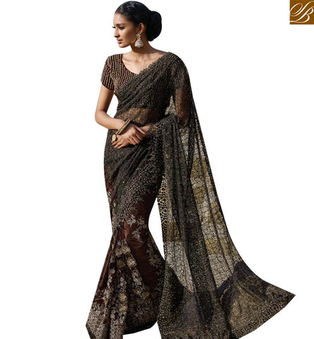 STYLISH BAZAAR APPEALING BROWN NET DESIGNER SAREE HAVING EMBROIDERED AND DIAMOND JARI WORK SLMN3401