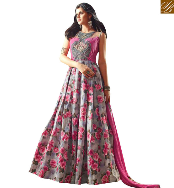 STYLISH BAZAAR BEAUTIFUL GREY AND PINK DESIGNER SUIT HAVING SUPERB FLORAL PRINT AND PATCH WORK ON CHEST SLMSH3402