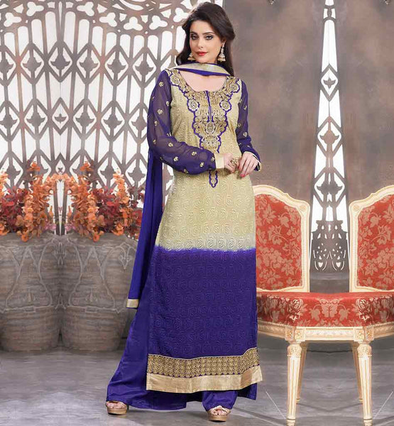 STRAIGHT SALWAR KAMEEZ DESIGN FOR PLAZZO SALWAR  LATEST FASHION BEIGE AND PURPLE GEORGETTE STRAIGHT CUT DRESS