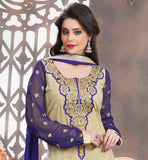 LATEST FASHION BEIGE AND PURPLE GEORGETTE STRAIGHT CUT DRESS NICE FLORAL THREAD WORK IS DONE ALL OVER THE DRESS WITH DEEP EMBROIDERED NECKLINE AND SMALL BUTTI DESIGNS ON SLEEVES