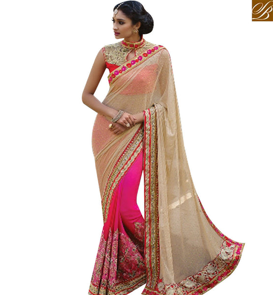STYLISH BAZAAR STUNNING PINK AND CREAM LYCRA HALF N HALF EMBROIDERED SAREE HAVING DESIGNER BLOUSE SLMN3403