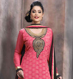 PINK GEORGETTE STRAIGHT CUT PARTY WEAR DRESS WITH BLACK SANTOON SALWAR AND CHIFFON DUPATTA LOVELY ROUND STYLE NECKLINE WITH EMBROIDERY WORK AND BUTTA PATTERNS