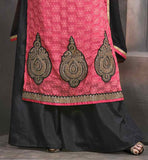 LOVELY ROUND STYLE NECKLINE WITH EMBROIDERY WORK AND BUTTA PATTERNS AT HEMLINE STRAIGHT CUT SALWAR KAMEEZ DESIGN FOR FESTIVALS
