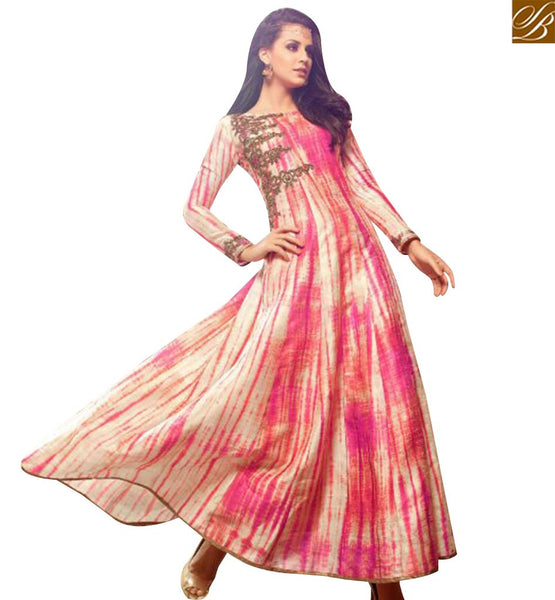 STYLISH BAZAAR AMAZING PINK AND CREAM SILK DESIGNER SALWAR KAMEEZ WITH EYE CATCHING PRINT SLMSH3404