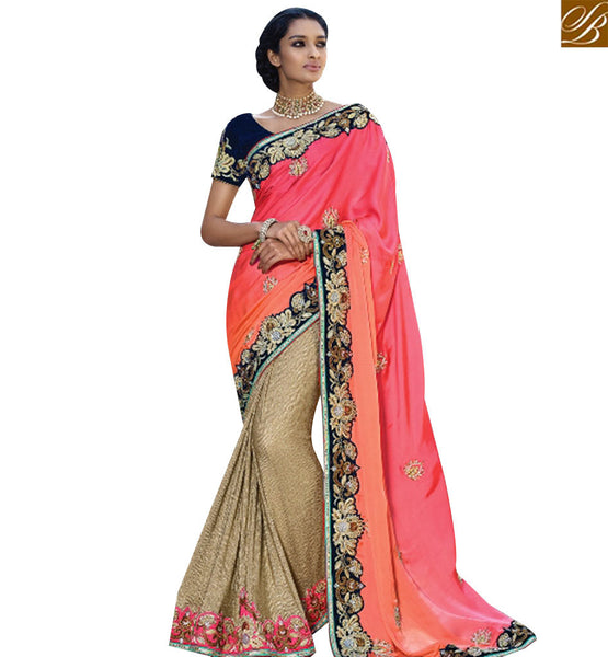 STYLISH BAZAAR SPLENDID BEIGE AND PINK LYCRA PARTY WEAR DESIGNER SAREE HAVING LACE BORDER WORK SLMN3404