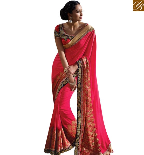 STYLISH BAZAAR GORGEOUS ALL OVER PINK SILK DESIGNER SAREE HAVING LACE BORDER WORK SLMN3405