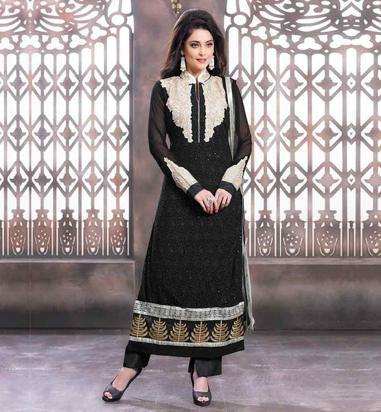 SALWAR SUITS DESIGNS PATTERNS FOR FESTIVE SEASONS  BEAUTIFUL BLACK PURE GEORGETTE SUIT WITH MATCHING SALWAR AND DUPATTA