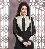 BEAUTIFUL BLACK PURE GEORGETTE SUIT WITH MATCHING SALWAR AND DUPATTA STRAIGHT CUT LUCKNOWI CHICKAN KARI DRESS WITH STLYLISH NECKLINE AND SLEEVES