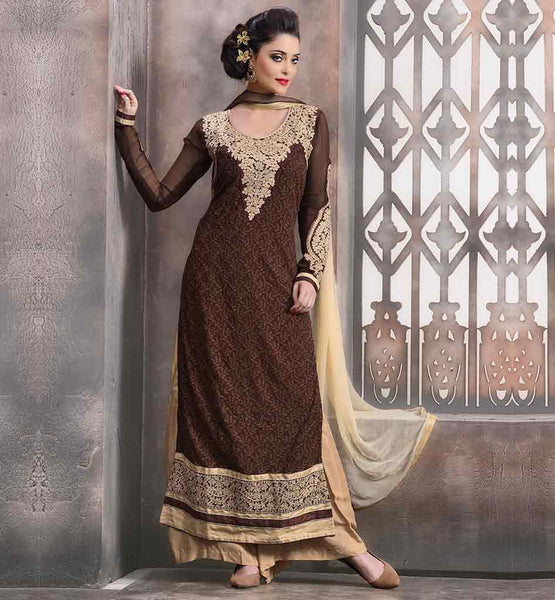 SALWAR SUITS DESIGN FOR WEDDING PARTY WEAR  SUPERB BROWN AND BEIGE COLOR CONTRAST ORNATE LUCKNOWI CHIKAN KARI DRESS WITH DUPATTA