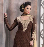 SUPERB BROWN AND BEIGE COLOR CONTRAST ORNATE LUCKNOWI CHIKAN KARI DRESS WITH DUPATTA PURE GEORGETTE STRAIGHT CUT SUIT WITH BEAUTIFULLY DESIGNED NECK AND SLEEVES AND CHIFFON ODHNI