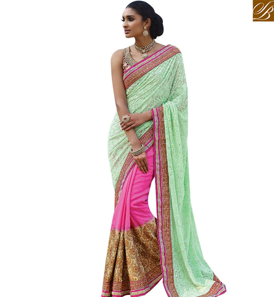 STYLISH BAZAAR MAJESTIC PINK AND GREEN BEMBERG HALF N HALF DESIGNER SAREE HAVING HEAVY BORDER WORK SLMN3410