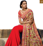 STYLISH BAZAAR RESPLENDENT RED BAMBERG CHIKU COLOUR PRINTED PALLU WITH EMBROIDERED LACE BORDER SLMN3411