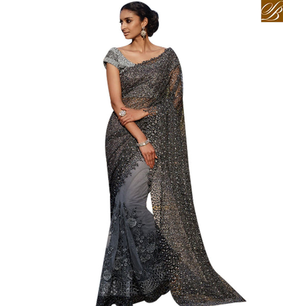 STYLISH BAZAAR MAGNETIC GREY NET LYCRA PARTY WEAR DESIGNER SAREE HAVING GLAMOROUS LOOK SLMN3413