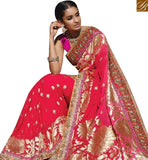 STYLISH BAZAAR GRACEFUL PINK SILK PARTY WEAR DESIGNER SAREE HAVING PRINTED AND LACE BORDER WORK SLMN3414