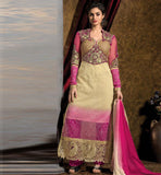 ULTIMATE Variation of SHADE from cream to magenta Color. NET for DESIGNER LONG KAMEEZ, santoon for SALWAR & inner and CHIFFON DUPATTA DRESS MATERI