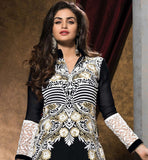Designer Embroidery on Neck Back Sleeves, lace work on Border & side edge of straight cut long floor length Kurti type Kameez to uplift appearance of dress.