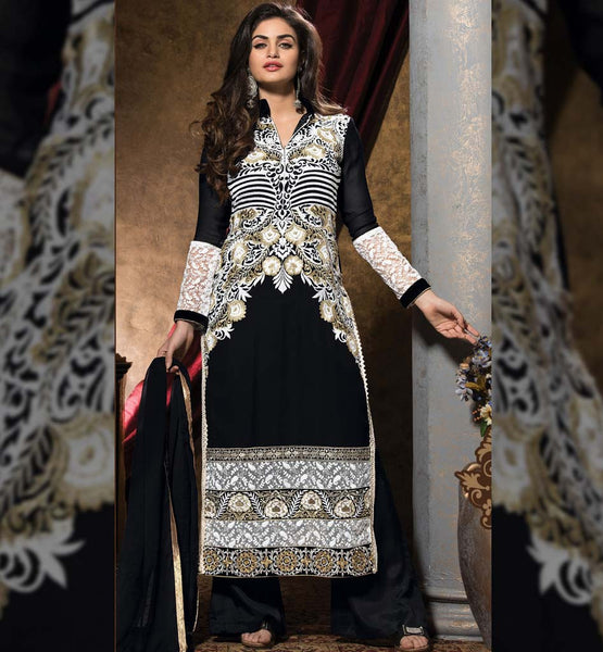 Ever stylish black and white color in designer latest trendy Shape straight cut dress. Full up to floor length Backless style georgette Kameez, Santoon's Salwar & Chiffon Dupatta Suit.