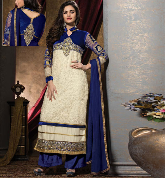 Buy online Indian SALWAR KAMEEZ SUIT. Latest trend of PARALLEL SHAPE looks EXCLUSIVE. ROYAL blue & ivory color will TOUCH heart of jealous to conv